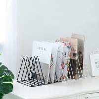 Triangular Iron Desktop Books Storage Rack Shelf File Magazine Storage Box Office Newspaper Books Holder Organizer Home Decor
