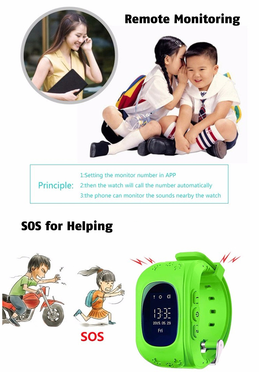 Q50 OLED Child GPS Tracker SOS Smart Monitoring Positioning Phone Kids GPS 008