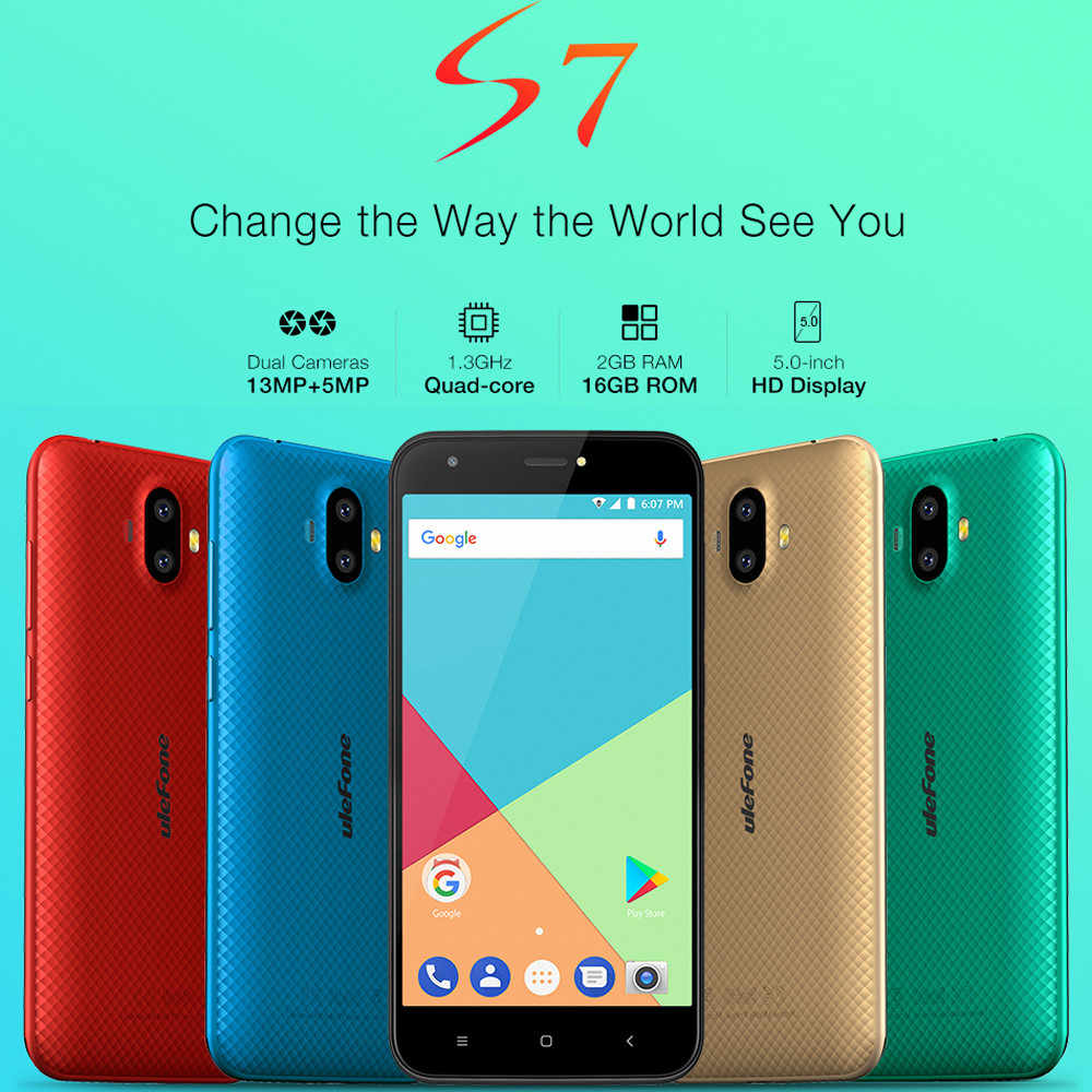 2 GB + 16 GB Ulefone S7 Pro Android 7,0 Smartphone Cellulare 2500 mAh Dual SIM 13MP Apr18