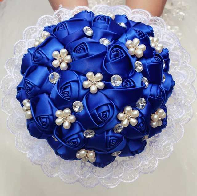 1piece Lace New Simple Royal Blue Rose Flowers Bridal Wedding