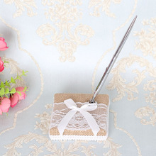 Wedding Accessories Linen Guest Book And Pen Sets Brand For Decoration Event Party Supplies