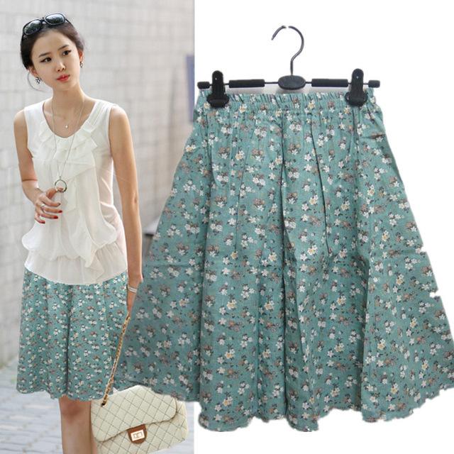 Moda feminina saia curta de linho de algodão azul cereja flor senhora saia roupas femininas