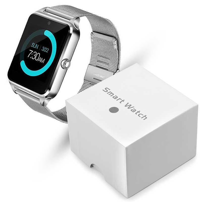 Reloj inteligente Z60 con pantalla táctil para hombre y mujer, pulsera con Bluetooth, cámara de música deportiva, correa de acero multifunción, reloj inteligente