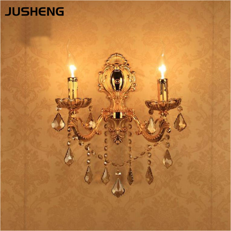 European Style Golden Wall Lamp Led E14 Candle Bulb Mounted Indoor Crystal Lights for Home 110v / 220v the ivory white european super suction wall mounted gate unique smoke door