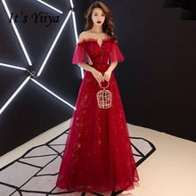 It's YiiYa Evening Dresses Elegant Scalloped Beading Wedding Formal Dress Lace Illusion Sequined A-line Zipper Party Gowns E410