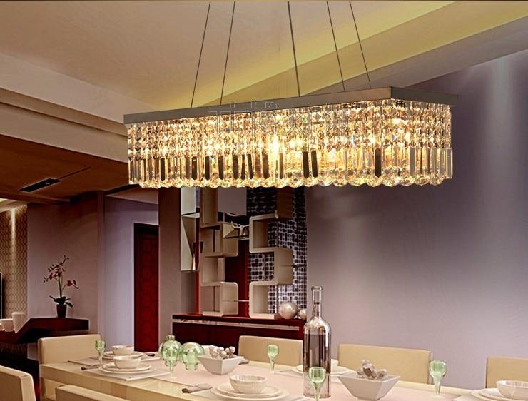 New Modern Luxury K9 Crystal Rectangle Pendant Light