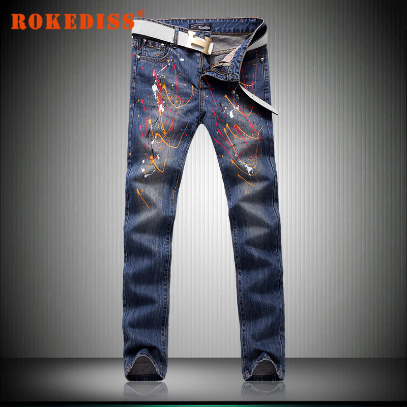 Men s Leisure Slim Small straight feet trousers personality printing fashion Paint rejection jeans dsq mens