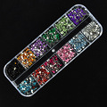 New Portable 3600pcs Nail Art Rhinestones Decoration 2.0mm Round Glitters With Hard Case Free Shipping