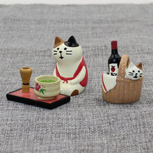 Decole Cat Basket Beer Tea Resin Watermelon Beer Miniature figurine Japan Zakka Home Decoration Scene craft toy Bonsai Ornaments(China)