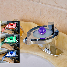 Led Light Bathroom Faucet Brass Chromed Waterfall Washing Basin Faucets 3 Colors Change Led Tap Water