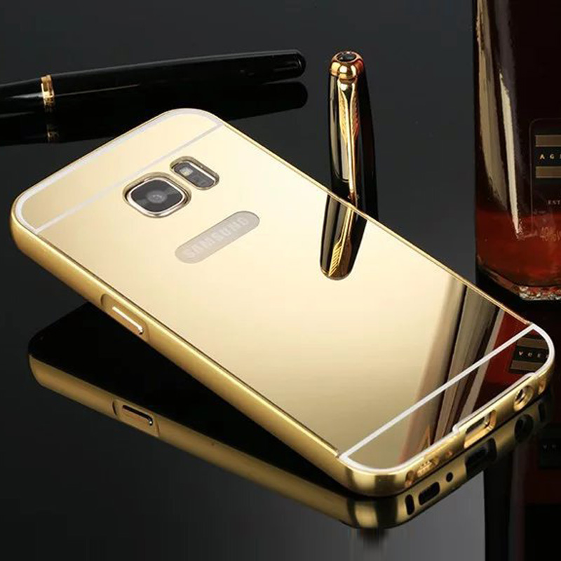For Samsung Galaxy S6 Edge Case Aluminum Phone Metal Frame Acrylic Back Cover Coque For Samsung S6 edge Cover Mirror Case Bumper