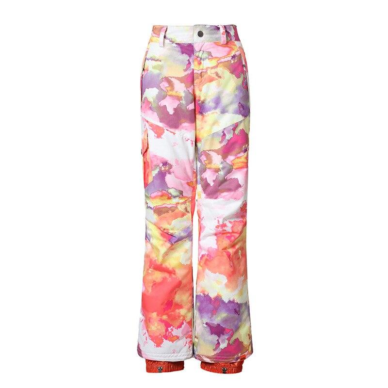 Pantalon de Ski Camouflage Orange bleu rose violet noir blanc Gsou neige femme pantalon de Ski pantalon de Ski imperméable coupe-vent 10K - 6