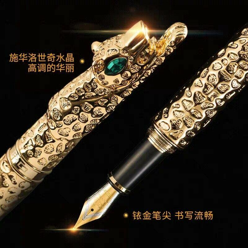 Bobby Launch Jinhao Snow Leopard Golden Fountain Pen Ink Pen Converter Pen Medium Nib Stationery Office school supplies