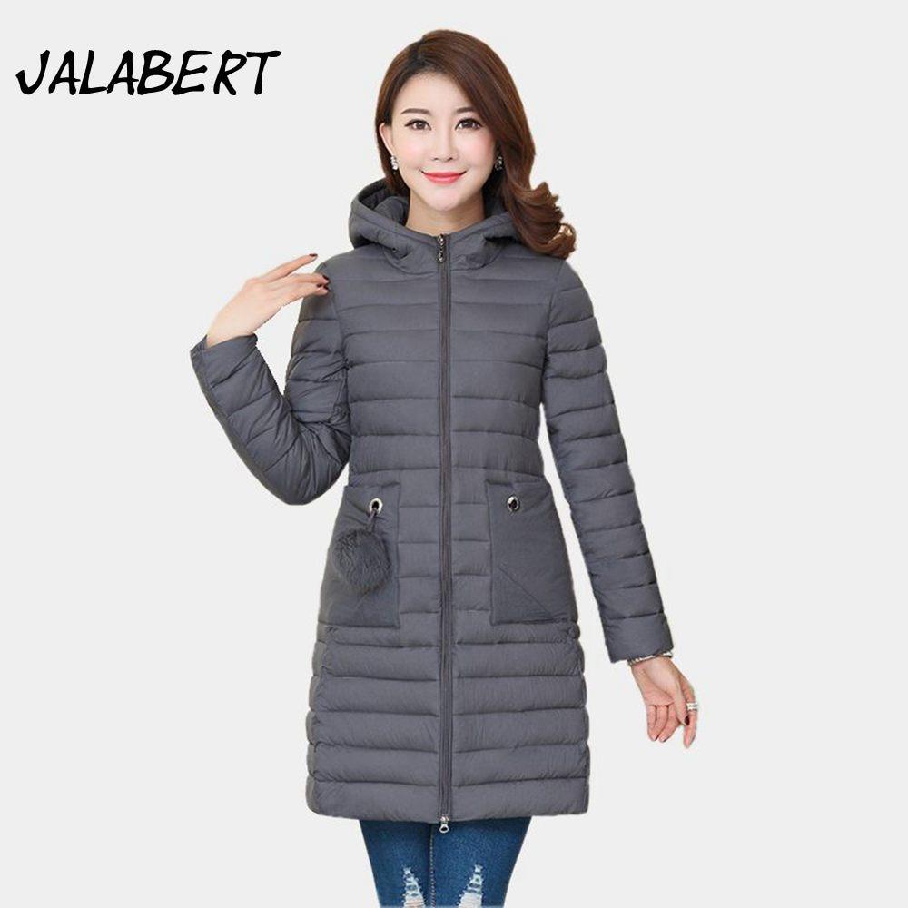 2017 New winter cotton jacket women long large size Slim Hooded coats thin Hairball Big pocket warm Parkas overdress