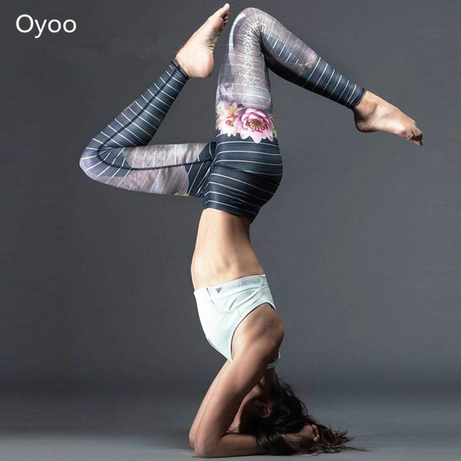 Oyoo Navy Blue Stripes Elephant Lotus Printed High Waist Yoga Pants Supreme Elastic Workout Fitness Leggings Sports Tights