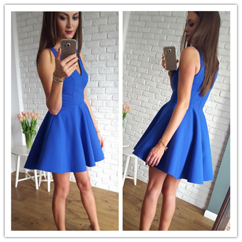 Simple A-Line V-Neck Sleeveless Short Prom Party Dress Satin Homecoming Dresses