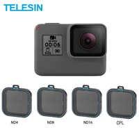 TELESIN 4 Pack Fiter Set ND Objektiv Protector Filter (ND4 8 16) + CPL Filter für Gopro Hero 5 6 & 7 Schwarz Hero 7 Kamera Accessoreis