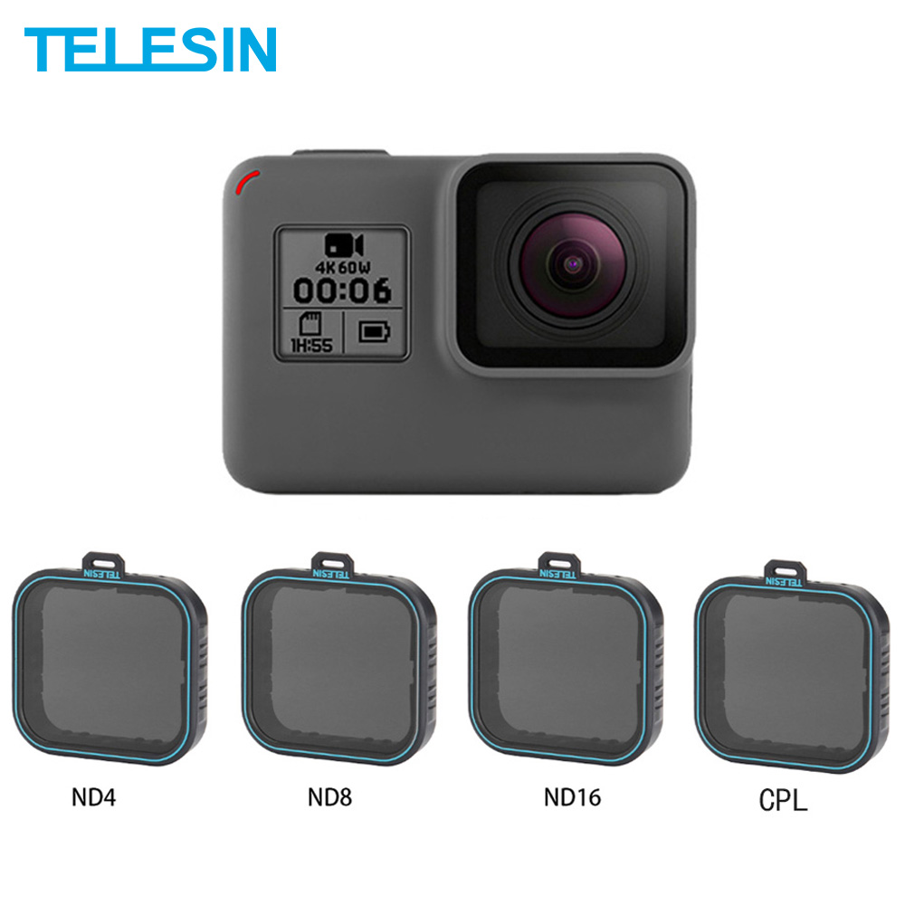 TELESIN <font><b>4</b></font> Pack Fiter Set ND Objektiv Protector <font><b>Filter</b></font> (ND4 <font><b>8</b></font> <font><b>16</b></font>) + CPL <font><b>Filter</b></font> für Gopro Hero 5 6 & 7 Schwarz Hero 7 Kamera Accessoreis image
