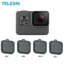 Telesin 4 Gói Fiter Bộ ND Bảo Vệ Ống Kính (ND4 8 16) + Kính Lọc CPL Cho Gopro Hero 5 6 Và 7 Đen Anh Hùng 7 Camera Accessoreis