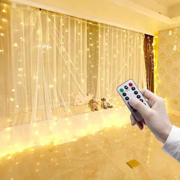 USB Remote Control Curtain Light 3*3M LED Star Curtain Light Furnished Romantic Room Bedroom Decorated Waterfall Lantern