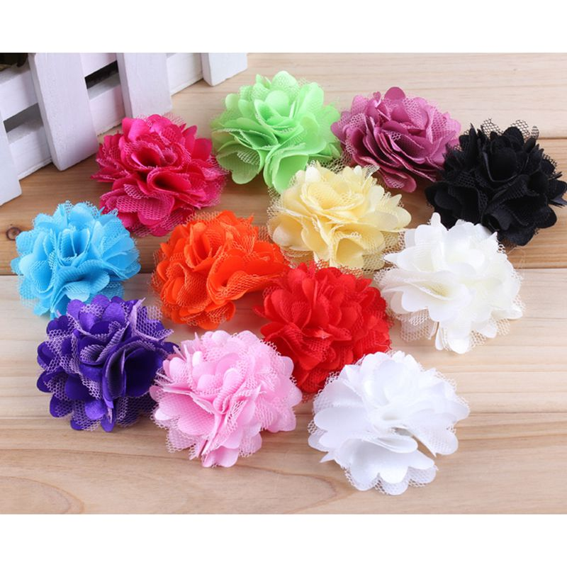 30PCS 2 12 Colors Mini Tulle Shimmer Satin Fabric Flowers Hair Accessories Handmade Mesh Hair Flower For Girls Headwear handmade big fabric rose flower headband hair garland wedding headpiece floral crown 12 colors