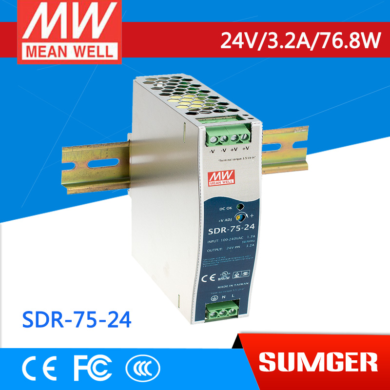 [MEAN WELL1] original SDR-75-24 24V 3.2A meanwell SDR-75 24V 76.8W Single Output Industrial DIN RAIL with PFC Function