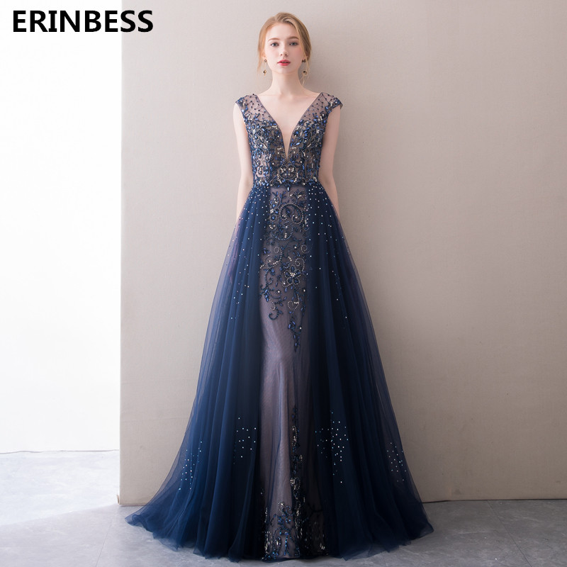 Navy Blue   Evening     Dress   Elegant Robe Longue Vestido De Festa A Line   Evening     Dresses   Long   Dress   Party Gowns 2019 Robe De Soiree