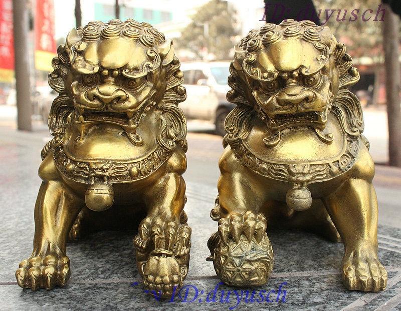 Crafts statue China Fengshui Brass Copper Guardian Door BeiJing Fu Foo Dog Lion Pair Statue