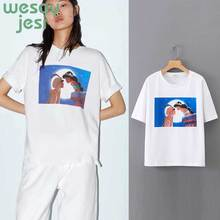 2019 new summer t-shirt women england style print cartoon modern primitive t shirt tops