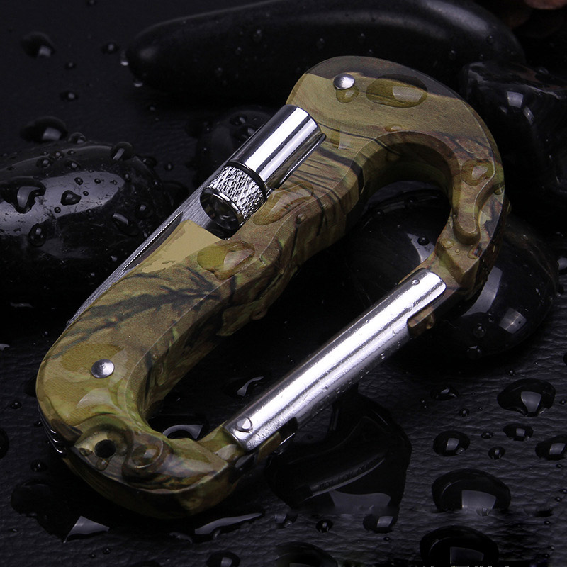 Camo multi-function EDC Outdoor Tool Climbing Carabiner Hook outdoor knife Gear Multi Tool Buckle mountaineering equipment