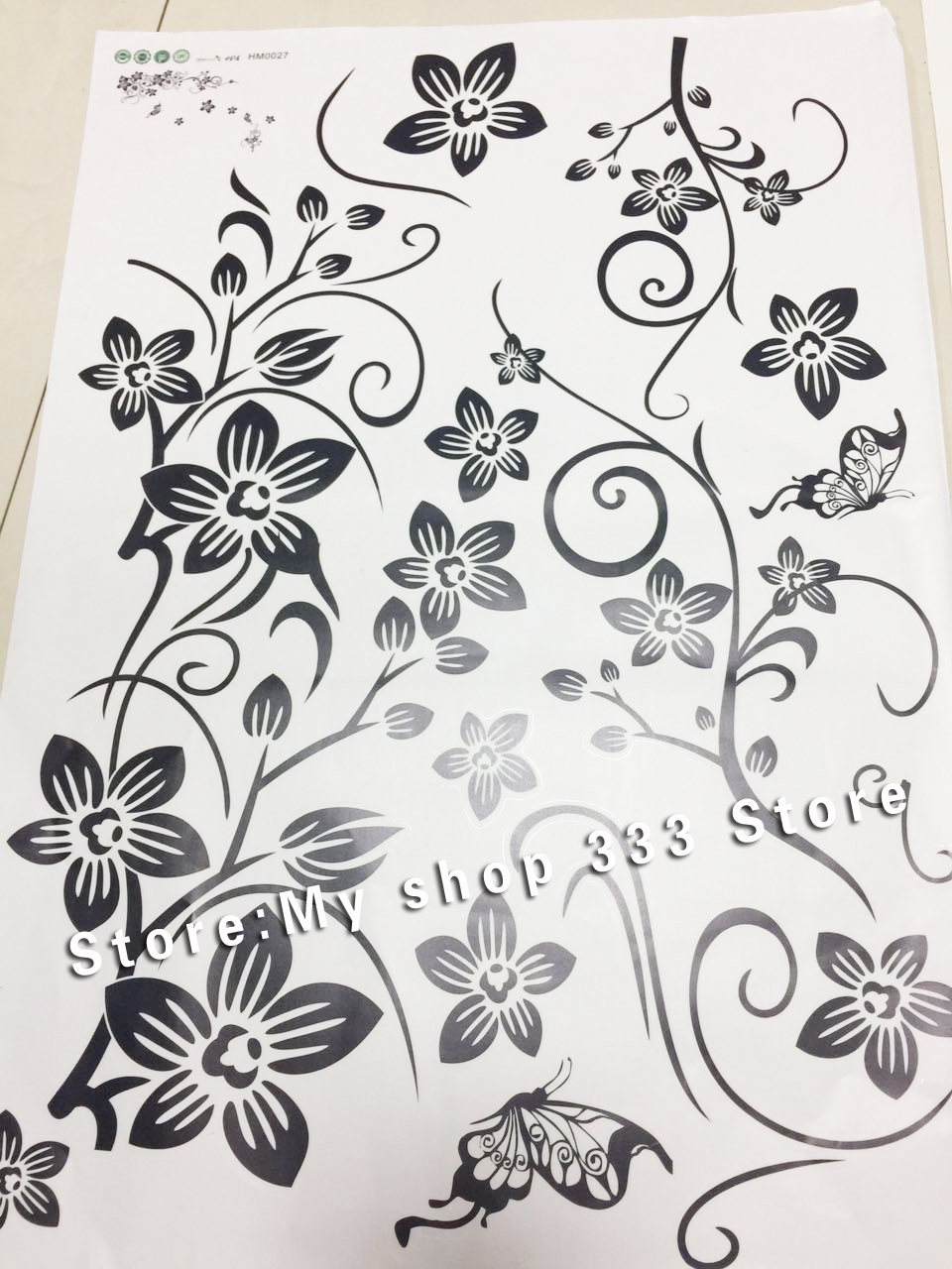Hot DIY Wall Art Decal Decoration Fashion Romantic Flower Wall Sticker/ Wall Stickers Home Decor 3D Wallpaper Free Shipping 9