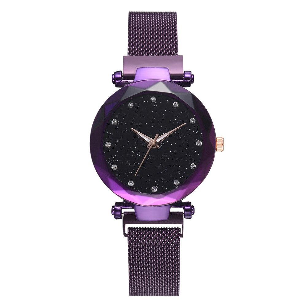 Imán reloj cielo estrellado versión coreana Simple moda tendencia Red impermeable ruido rojo cuarzo del acero inoxidable 2018 nuevo reloj