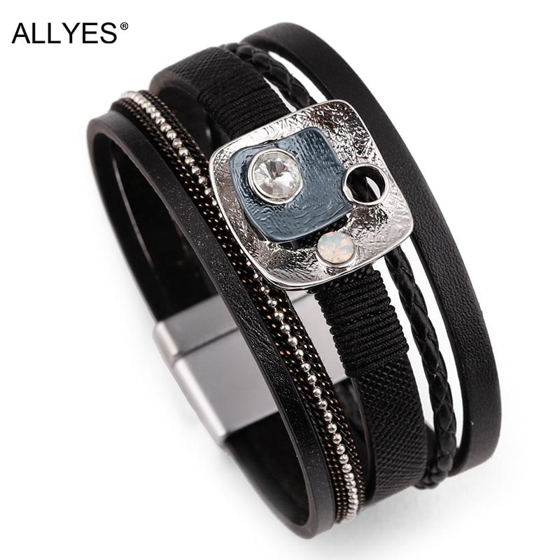 ALLYES Women Leather Bracelet Femme Metal Charm Cystal Bohemian Female Multilayer Wide Wrap Bracelets & Bangles Jewelry цена 2017