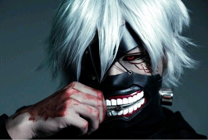 Cosplay Tokyo Ghoul 2 Kaneki Ken Mask Adjustable Zipper Prop Masks Rubber 3D Solid Cool Mask Blinder Anime  Drop Ship
