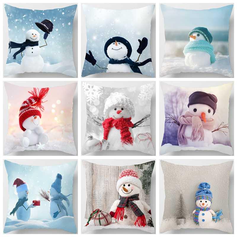 โพลีเอสเตอร์หมอนคริสต์มาสการ์ตูน Snowman การพิมพ์การย้อมสีเตียงตกแต่งบ้าน Cushion Cover Christmas Decor Pillowscases