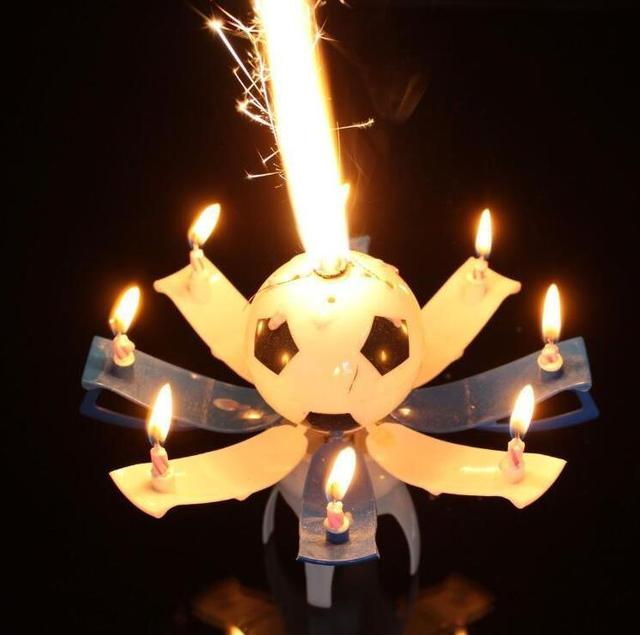 Musical Rotating Spin Football Soccer Birthday Celebration Candles Cake Topper Happy With 8 Candle Lights Favor