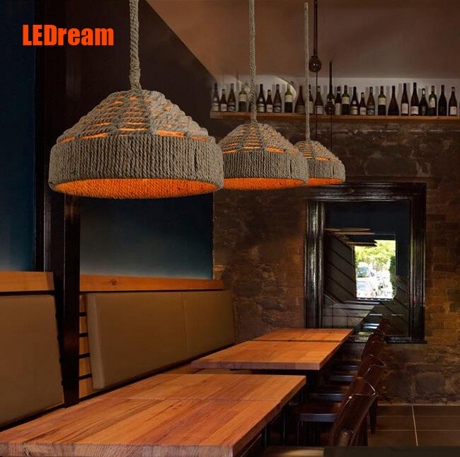 American rural idyll hemp rope chandelier , wrought iron creative old bar and coffee shop sitting room dining-room droplight