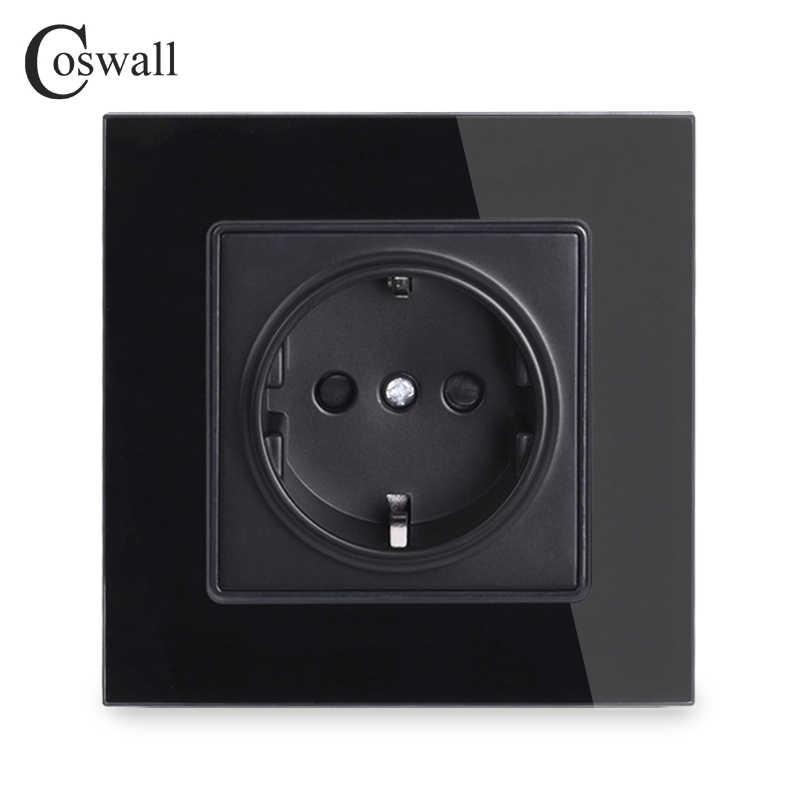 Coswall 벽 크리스탈 유리 패널 전원 소켓 플러그 접지, 16A EU 표준 전기 콘센트 86mm * 86mm