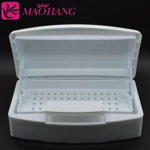 MAOHANG, 1 Uds., bandeja esterilizadora blanca para aplicar esmalte de uñas, caja desinfectante para salón de belleza de uñas, utensilios para manicura