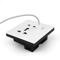 British Standard 5 Hole USB Socket Crystal Glass Panel AC 110~250V 10A
