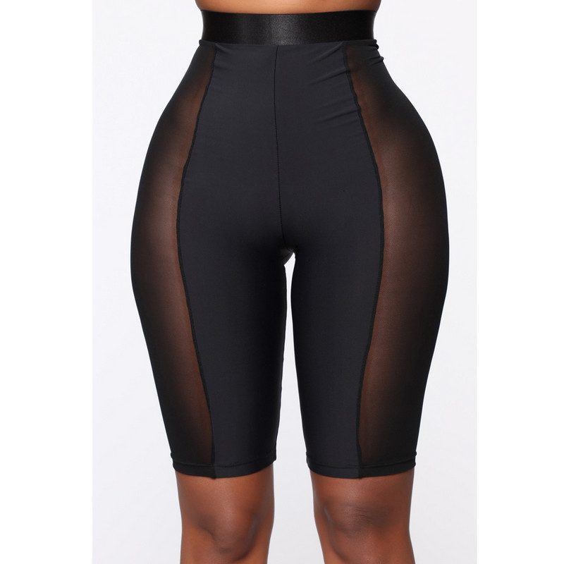 Women Biker Shorts Mesh Sheer Patchwork Workout GYM Mid Thigh Sexy High Waist Shorts Black Yellow