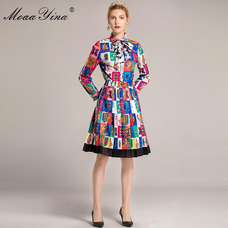 MoaaYina Fashion Designer Runway Set Autumn Women Long sleeve letter Floral Print Elegant Tops Half skirt