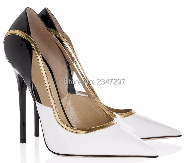 ФОТО 2017 Shoes Woman White Black Leather Gold Trim Thin High Heels Classic Mixed Colors Slip On Pumps Fashion Pointed Toe Shoes