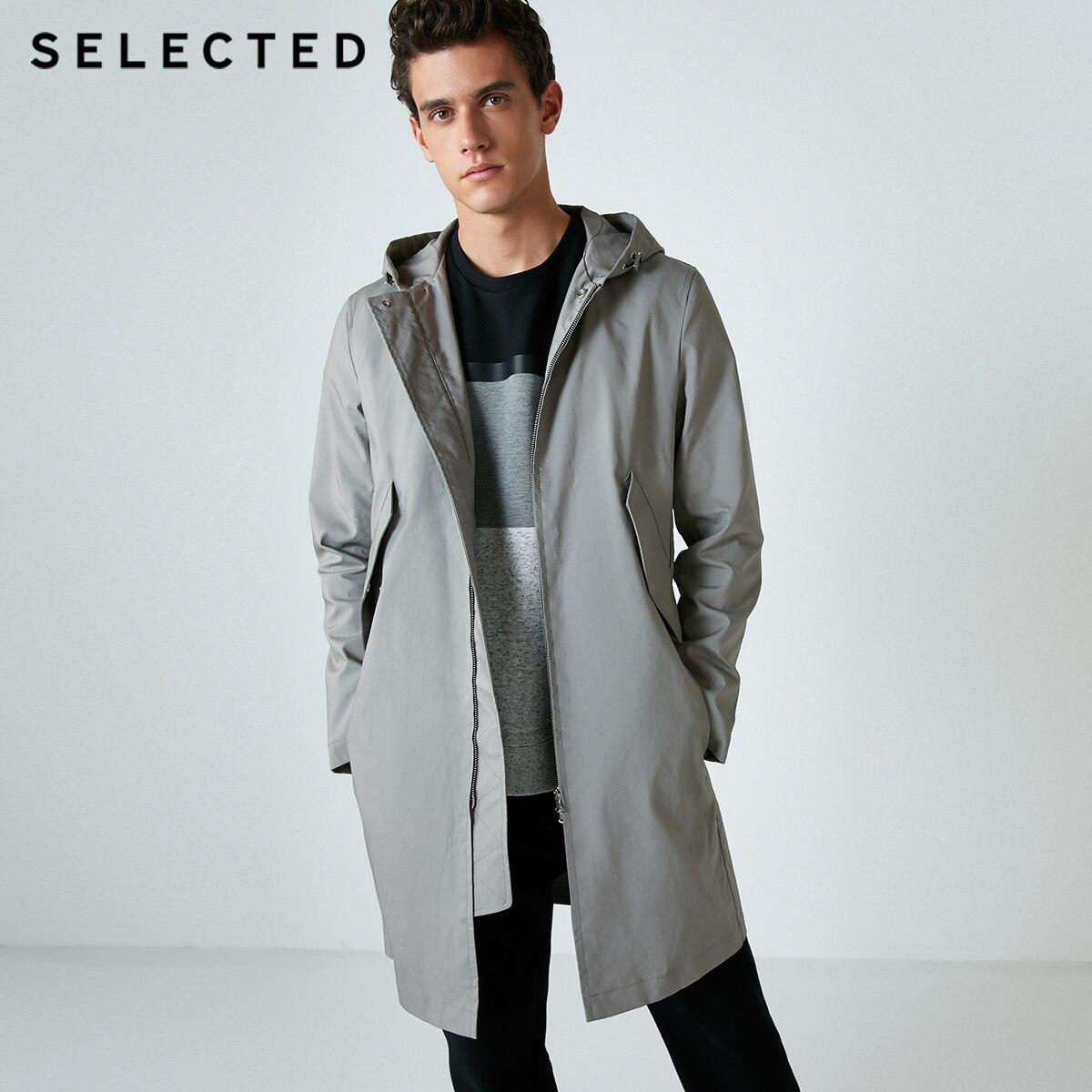 SELECTED Slade new style straight hat hooded men's mid length windbreaker S|4183OM516