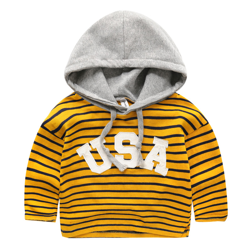 New Fashion Kids Hooded Sweatshirt Striped & Letter Baby Long Sleeve Tops Spring Casual Pullover Sweatshirt Outfit