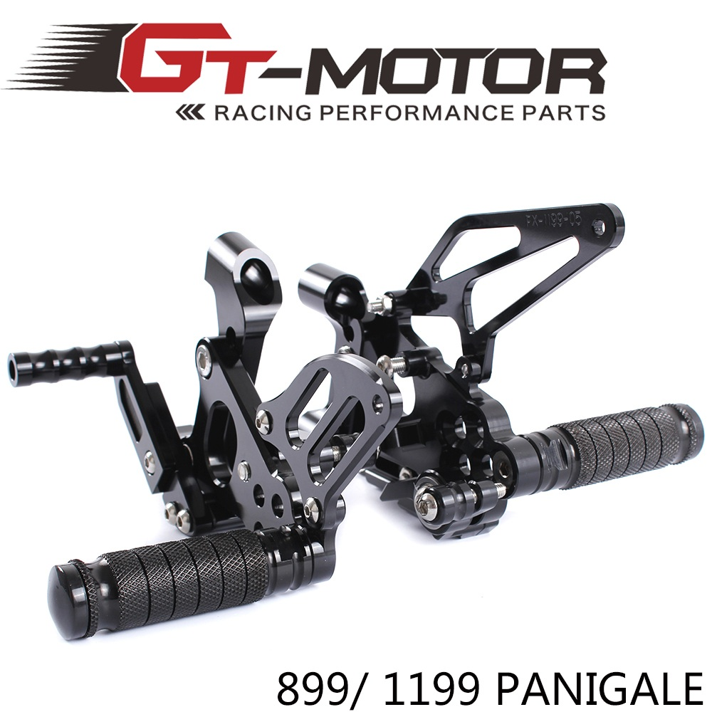 GT Motor Full CNC Aluminum Motorcycle Adjustable Rear Sets Foot Pegs For DUCATI 899 1199 PANIGALE