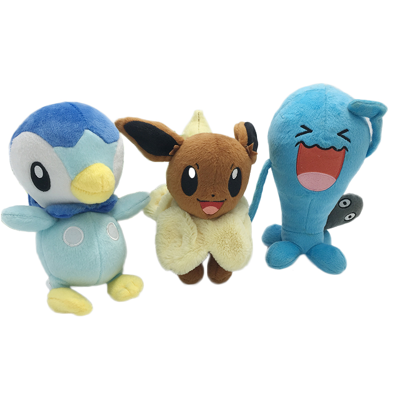 Kawaii Plush Pocket Monster Rotaļlietas Piplup Eevee Genius Wobbuffet Bērnu dāvanu rotaļlieta Bērnu karikatūra Rakstzīmju pildīti dzīvnieki lelles