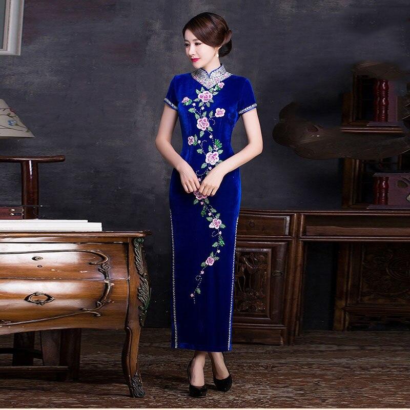 Velvet Blue ұзын заманғы Qipao әдемі көйлек - Ұлттық киім - фото 4