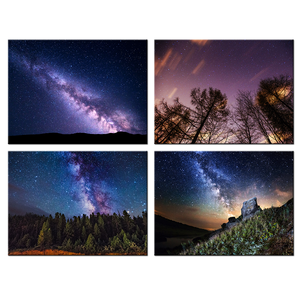 online get cheap wall mural starry night aliexpress com alibaba starry night forest poster canvas prints hd picture wall mural home decor for living room contemporary decorative painting