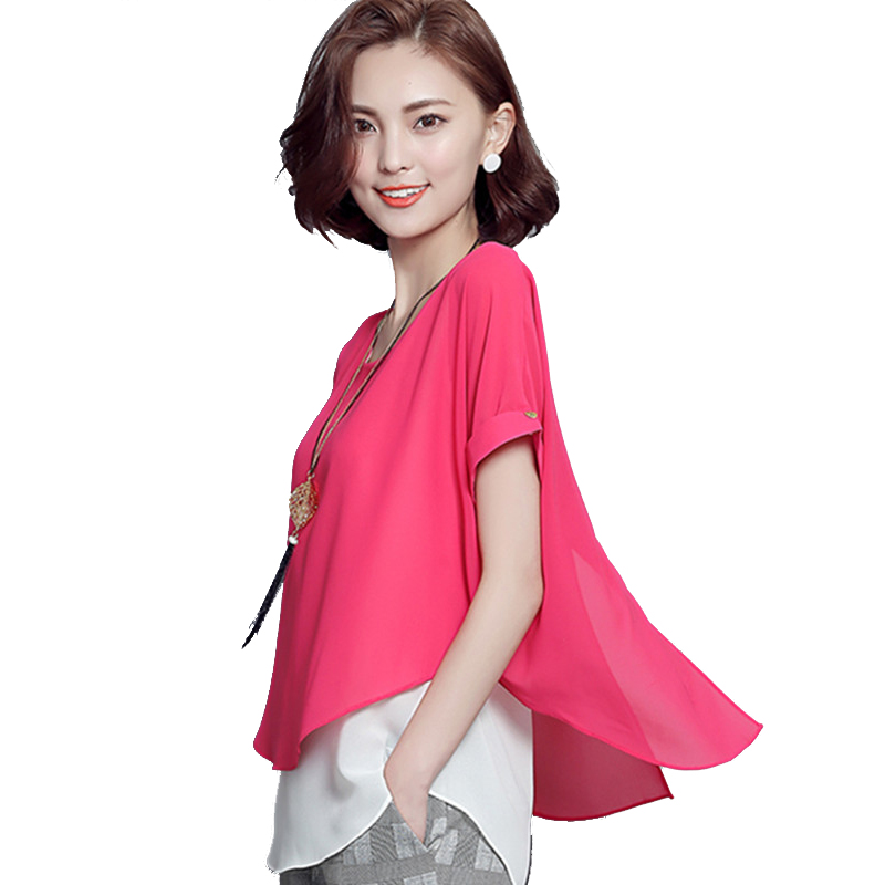 Fake 2 Pieces Women Blouses Summer Style Short Sleeve 2016 Vintage Short Sleeve Plus Size Korean Fashion Clothing Ladies Tops